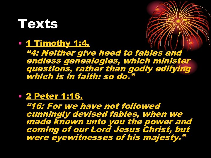 "Texts • 1 Timothy 1: 4. "" 4: Neither give heed to fables and"