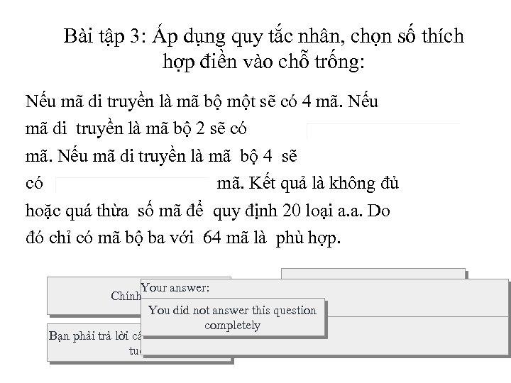 Bài tập 3: Áp dụng quy tắc nhân, chọn số thích hợp điền vào
