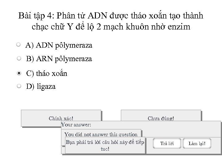 Bài tập 4: Phân tử ADN được tháo xoắn tạo thành chạc chữ Y