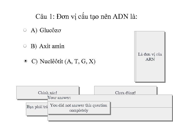 Câu 1: Đơn vị cấu tạo nên ADN là: A) Glucôzơ B) Axit amin
