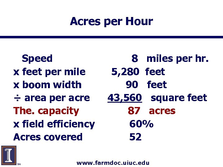 Acres per Hour Speed x feet per mile x boom width ÷ area per