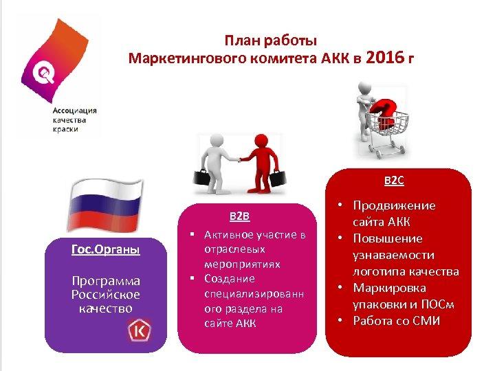План работы Маркетингового комитета АКК в 2016 г B 2 С Гос. Органы Программа