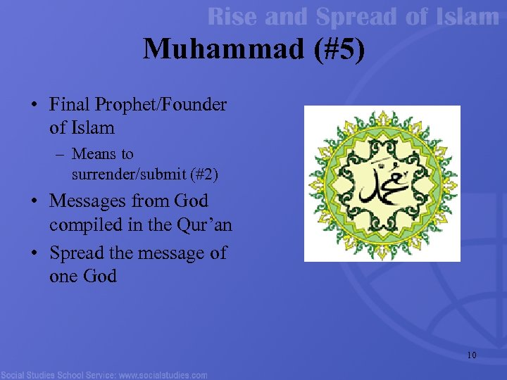 Muhammad (#5) • Final Prophet/Founder of Islam – Means to surrender/submit (#2) • Messages