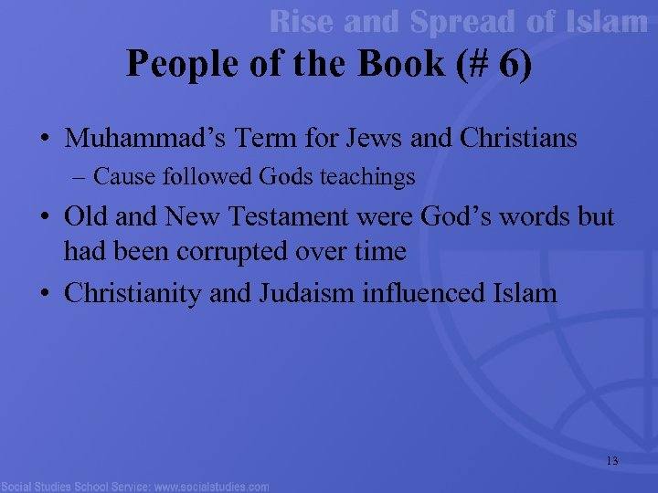 People of the Book (# 6) • Muhammad's Term for Jews and Christians –