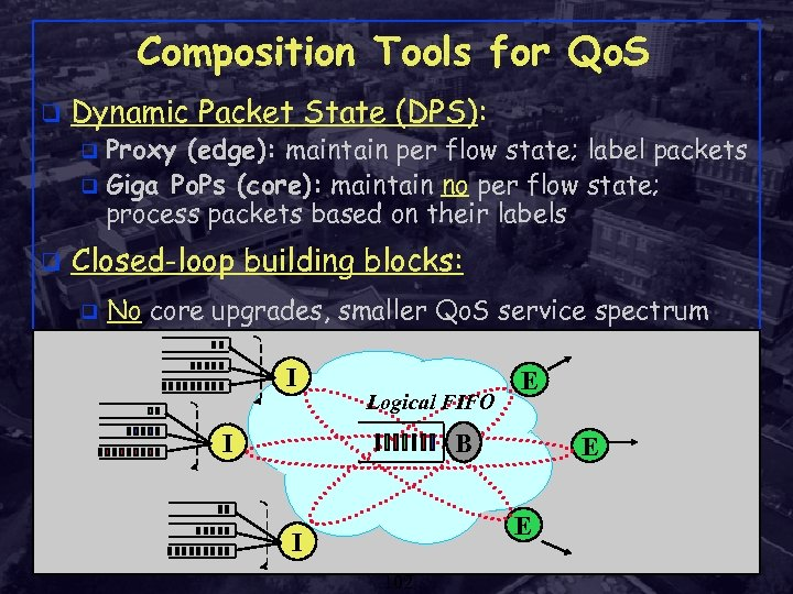 Composition Tools for Qo. S q Dynamic Packet State (DPS): Proxy (edge): maintain per