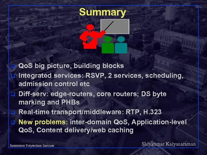 Summary q q q Qo. S big picture, building blocks Integrated services: RSVP, 2