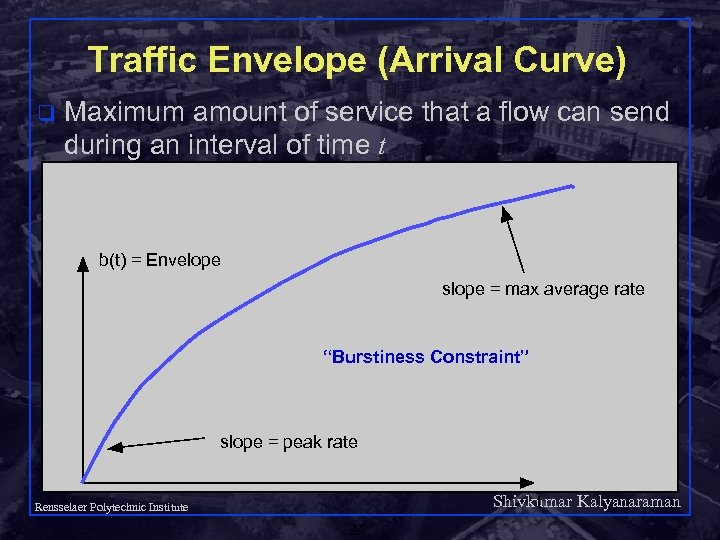 Traffic Envelope (Arrival Curve) q Maximum amount of service that a flow can send