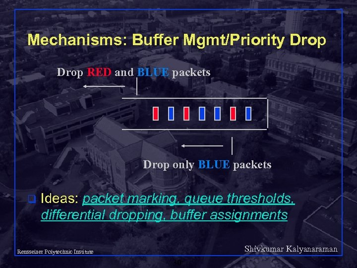 Mechanisms: Buffer Mgmt/Priority Drop RED and BLUE packets Drop only BLUE packets q Ideas: