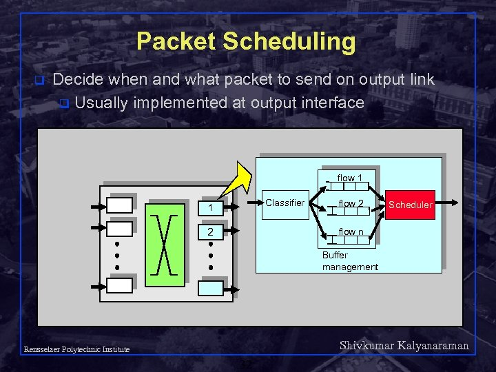 Packet Scheduling q Decide when and what packet to send on output link q