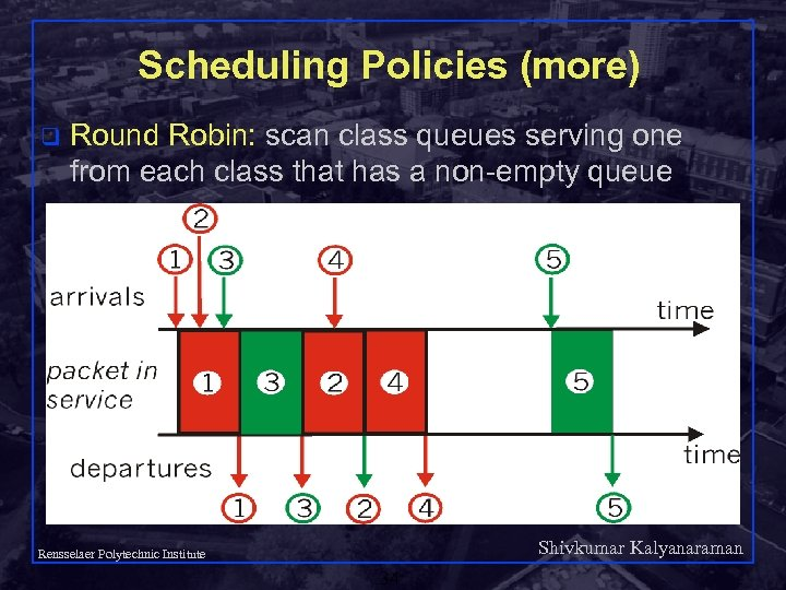 Scheduling Policies (more) q Round Robin: scan class queues serving one from each class