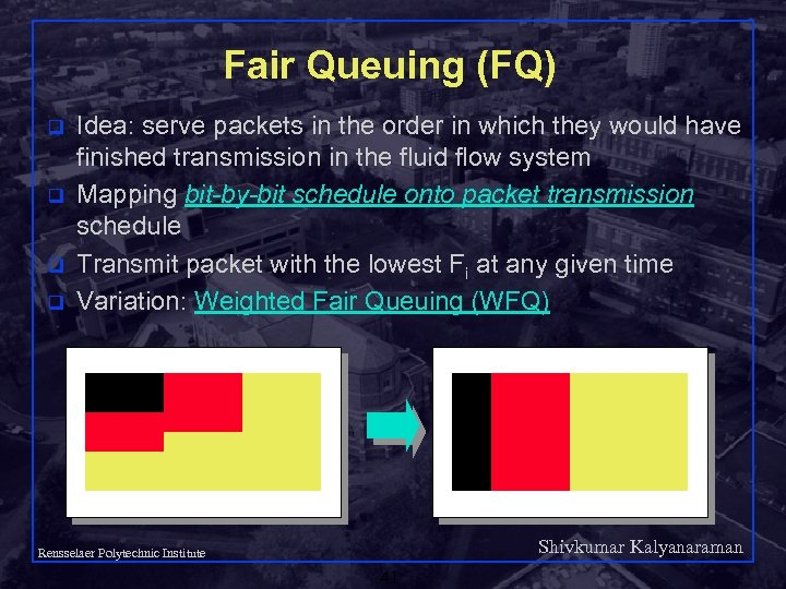 Fair Queuing (FQ) q q Idea: serve packets in the order in which they