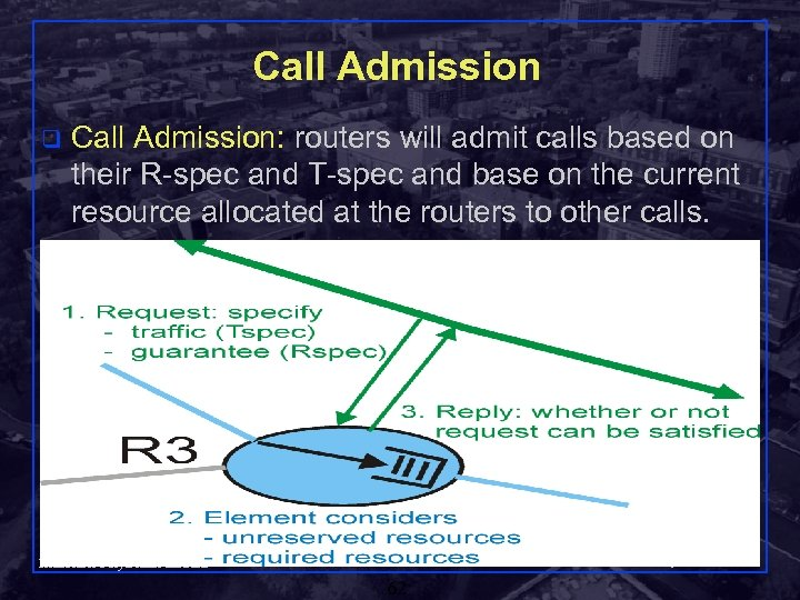 Call Admission q Call Admission: routers will admit calls based on their R-spec and