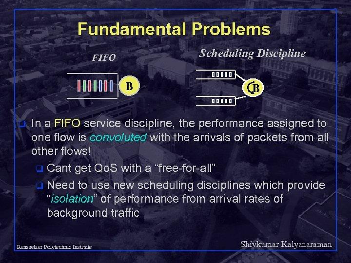Fundamental Problems Scheduling Discipline FIFO B q B In a FIFO service discipline, the