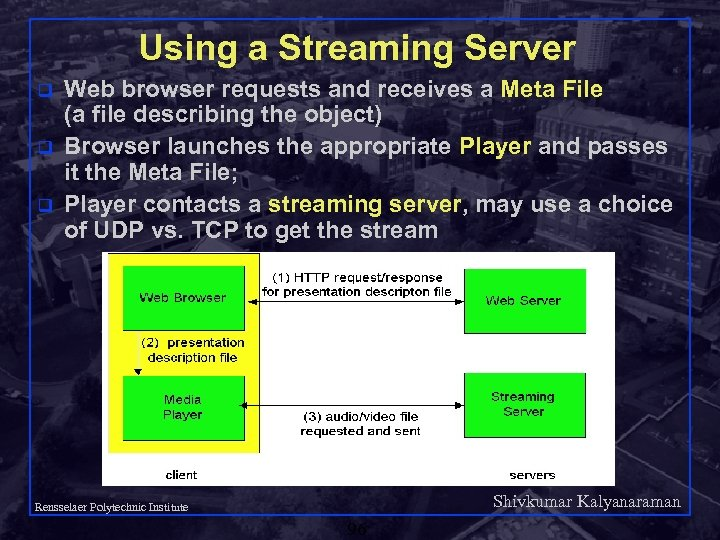 Using a Streaming Server q q q Web browser requests and receives a Meta