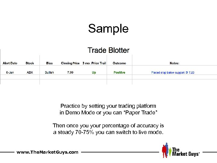 """Sample Practice by setting your trading platform in Demo Mode or you can """"Paper"""