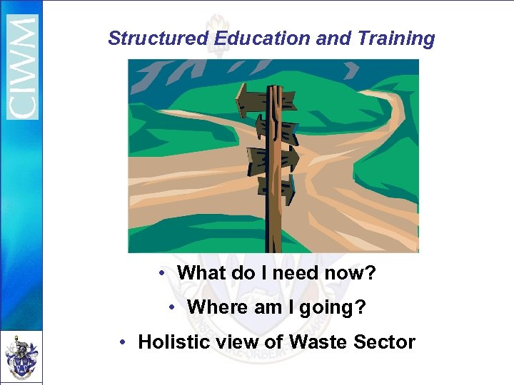 Structured Education and Training • What do I need now? • Where am I