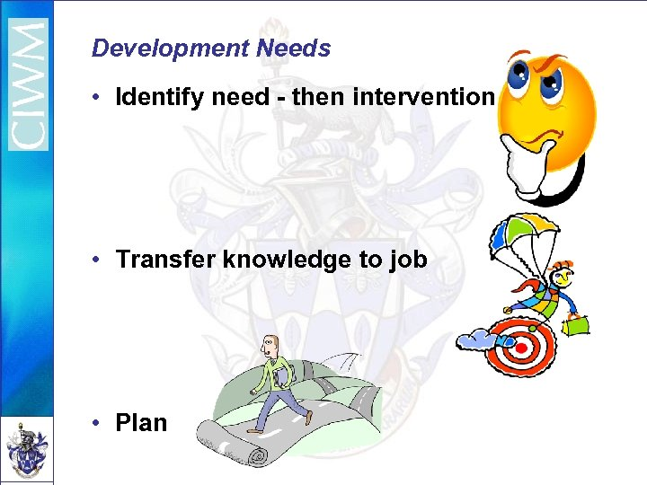 Development Needs • Identify need - then intervention • Transfer knowledge to job •