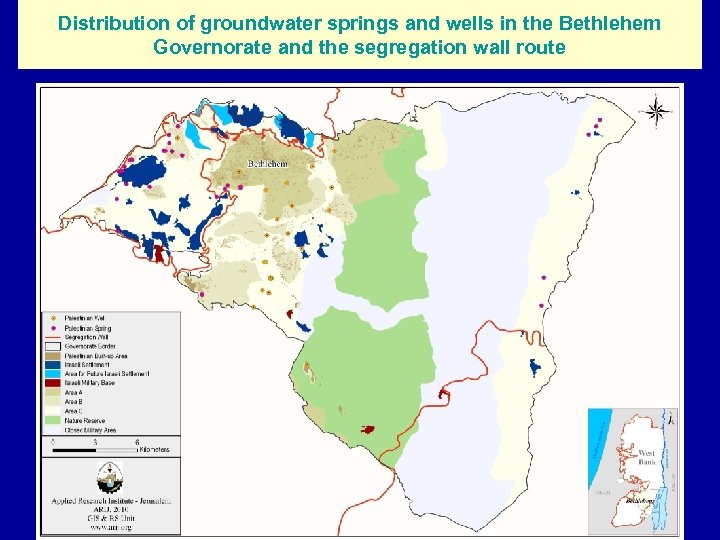 Distribution of groundwater springs and wells in the Bethlehem Governorate and the segregation wall