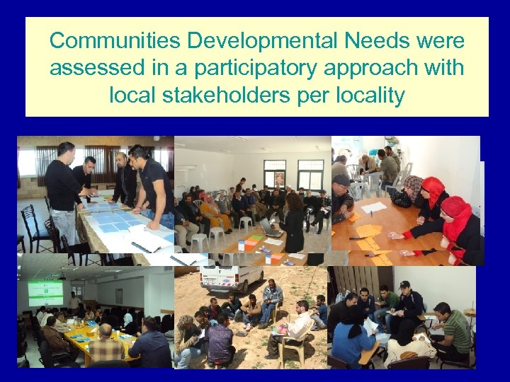 Communities Developmental Needs were assessed in a participatory approach with local stakeholders per locality