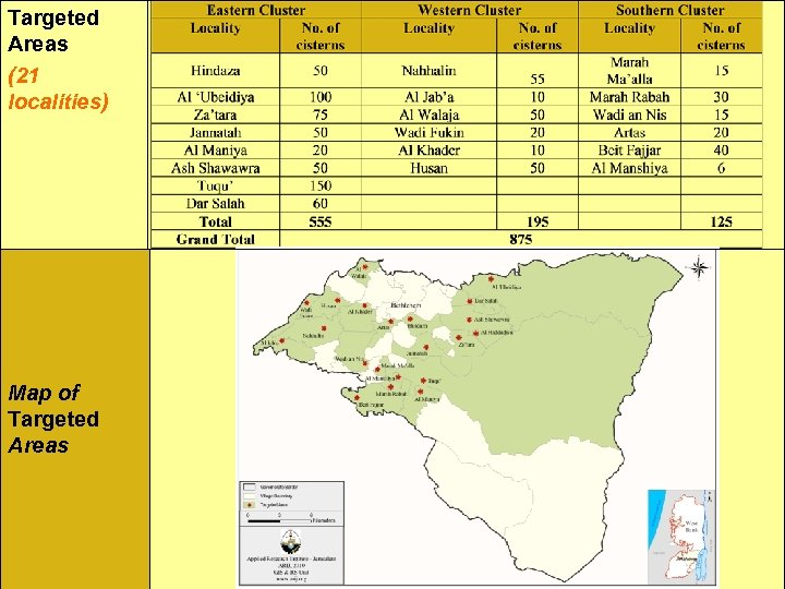 Targeted Areas (21 localities) Map of Targeted Areas