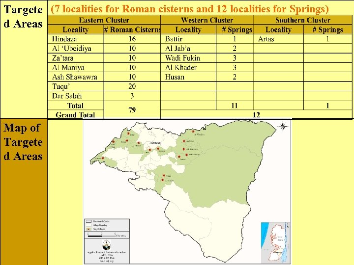 Targete (7 localities for Roman cisterns and 12 localities for Springs) d Areas Map