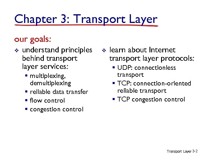 Chapter 3: Transport Layer our goals: v understand principles behind transport layer services: §