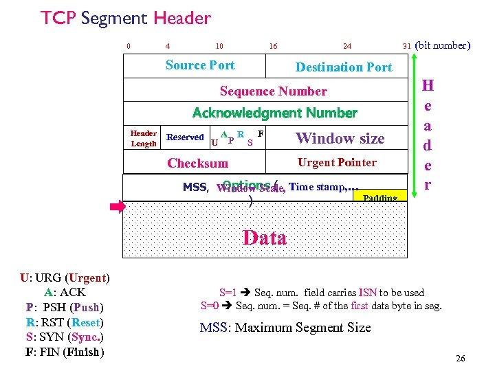 TCP Segment Header 0 4 10 16 Source Port 24 31 Destination Port Sequence