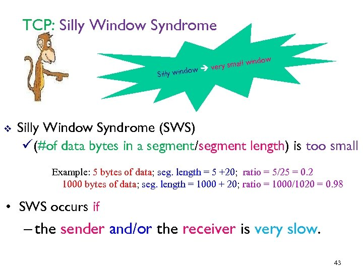 TCP: Silly Window Syndrome ow Silly wind v indow y small w ver Silly