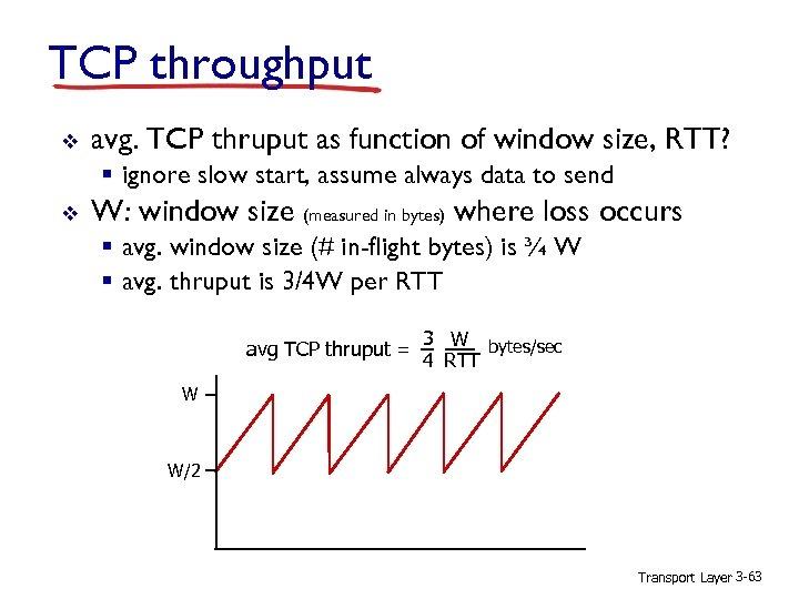 TCP throughput v avg. TCP thruput as function of window size, RTT? § ignore