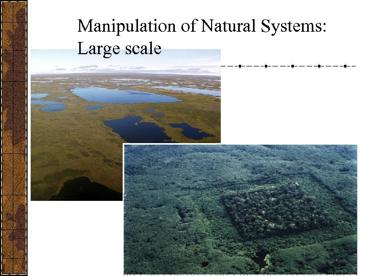 Manipulation of Natural Systems: Large scale
