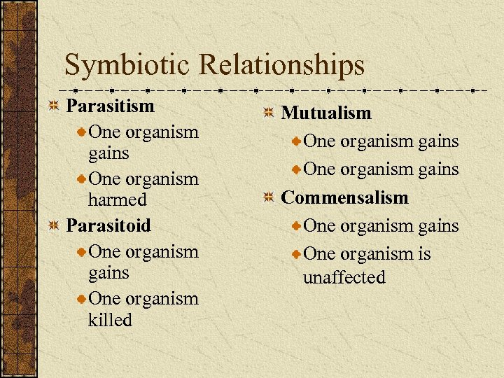 Symbiotic Relationships Parasitism One organism gains One organism harmed Parasitoid One organism gains One