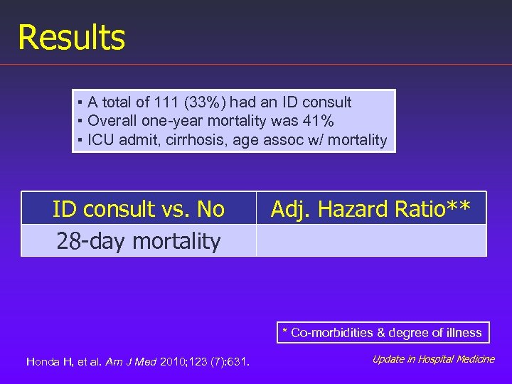 Results ▪ A total of 111 (33%) had an ID consult ▪ Overall one-year