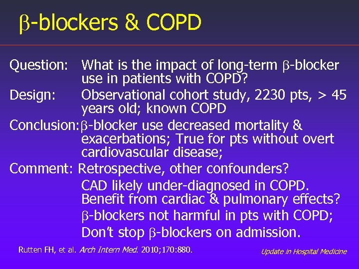 b-blockers & COPD Question: What is the impact of long-term b-blocker use in patients