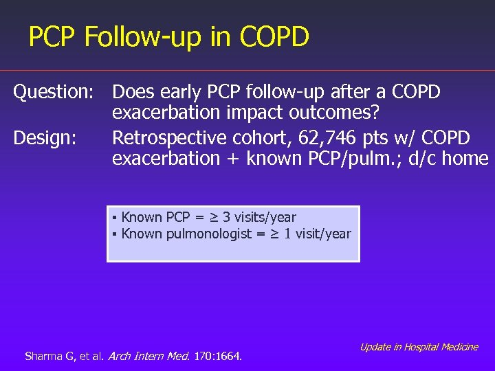 PCP Follow-up in COPD Question: Does early PCP follow-up after a COPD exacerbation impact