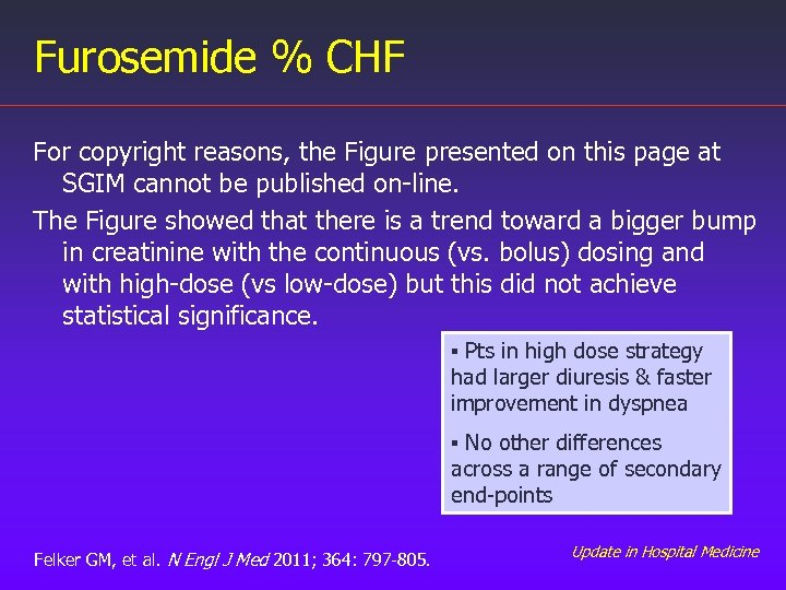 Furosemide % CHF For copyright reasons, the Figure presented on this page at SGIM
