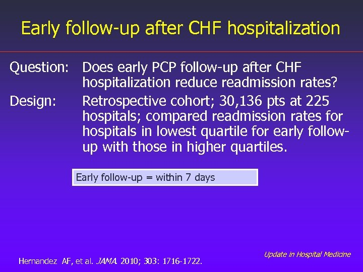 Early follow-up after CHF hospitalization Question: Does early PCP follow-up after CHF hospitalization reduce