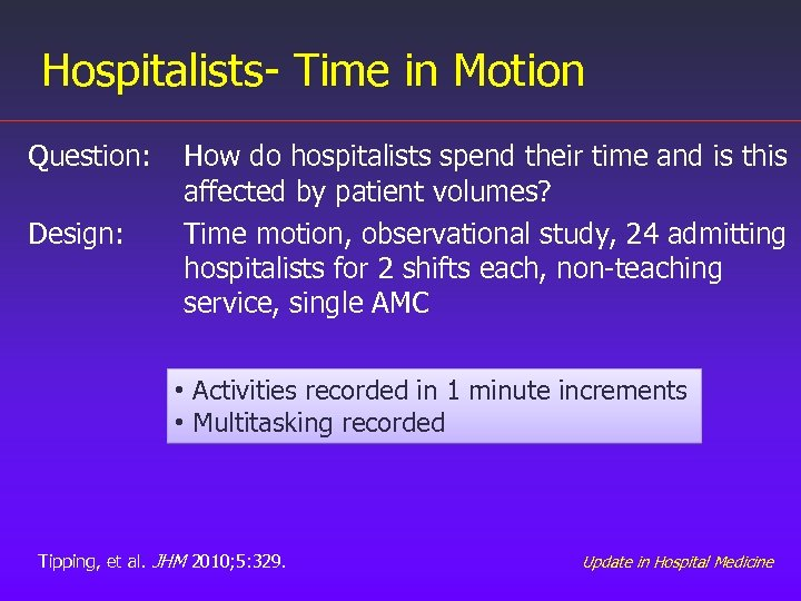 Hospitalists- Time in Motion Question: Design: How do hospitalists spend their time and is