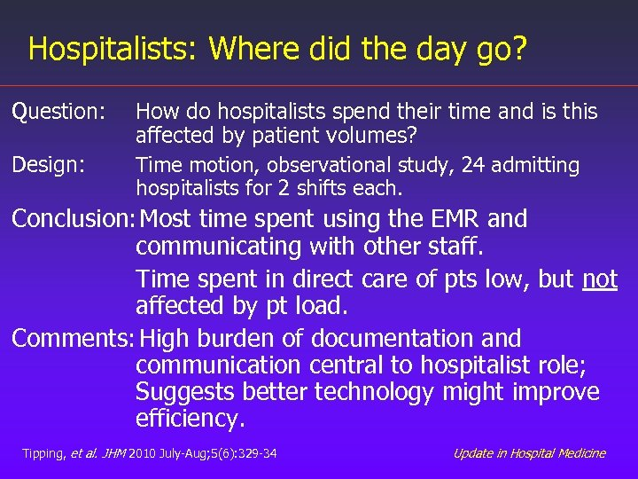 Hospitalists: Where did the day go? Question: Design: How do hospitalists spend their time