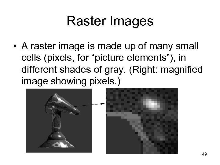 Raster Images • A raster image is made up of many small cells (pixels,