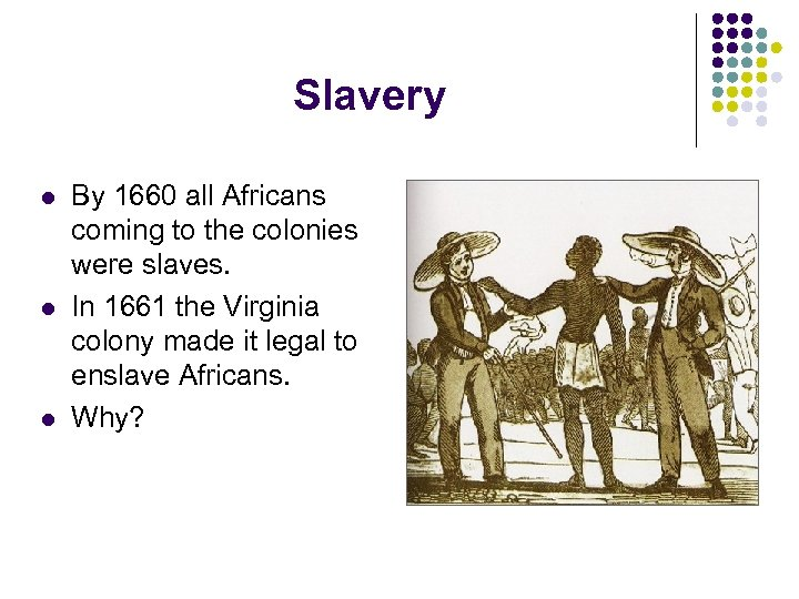 Slavery l l l By 1660 all Africans coming to the colonies were slaves.