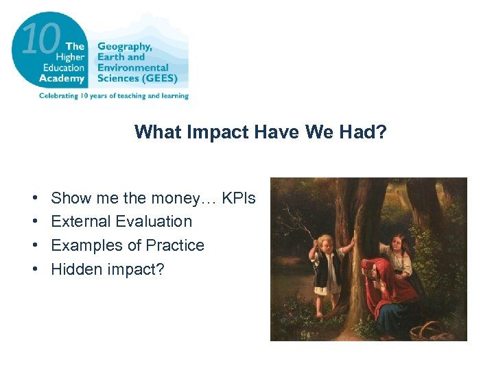 What Impact Have We Had? • • Show me the money… KPIs External Evaluation