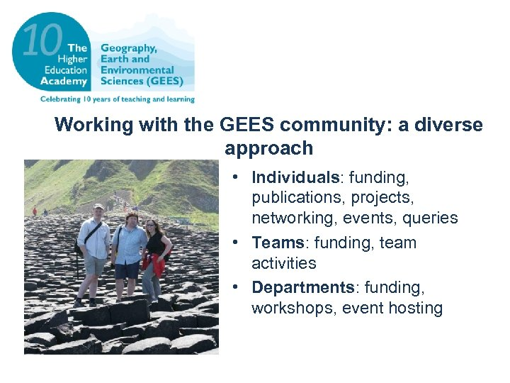 Working with the GEES community: a diverse approach • Individuals: funding, publications, projects, networking,
