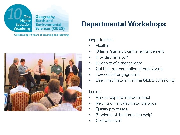 Departmental Workshops Opportunities • Flexible • Often a 'starting point' in enhancement • Provides