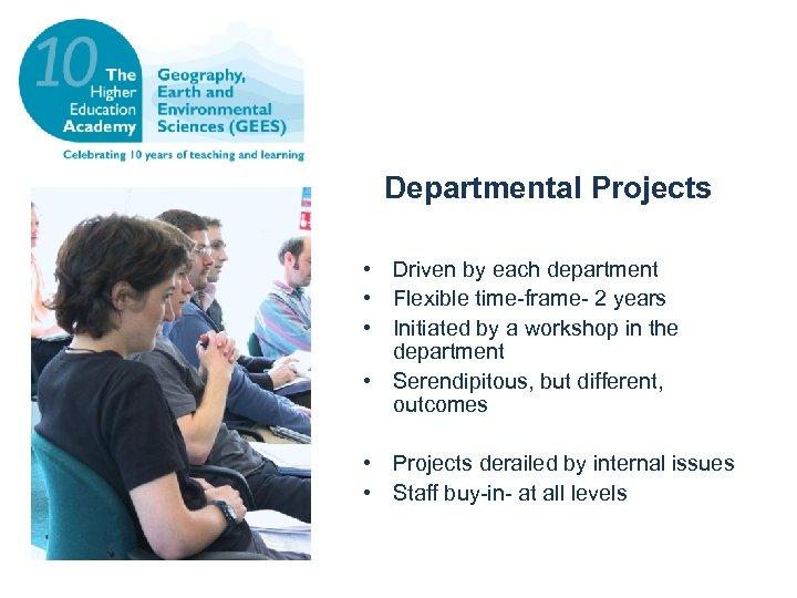 Departmental Projects • Driven by each department • Flexible time-frame- 2 years • Initiated