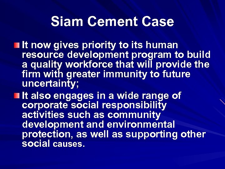 Siam Cement Case It now gives priority to its human resource development program to