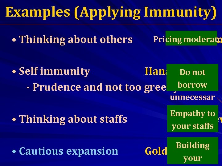 Examples (Applying Immunity) • Thinking about others Pricing moderate Saha Farm • Self immunity