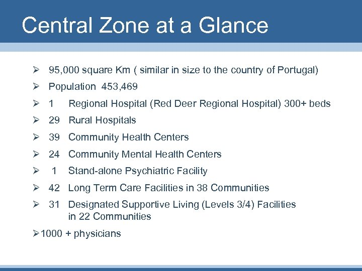 Central Zone at a Glance Ø 95, 000 square Km ( similar in size