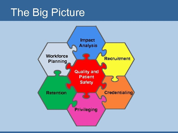 The Big Picture Impact Analysis Workforce Planning Recruitment Quality and Patient Safety Credentialing Retention
