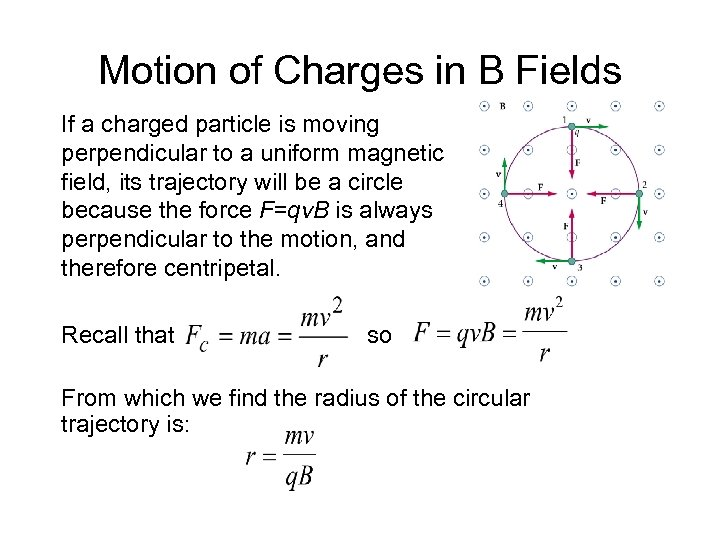Motion of Charges in B Fields If a charged particle is moving perpendicular to