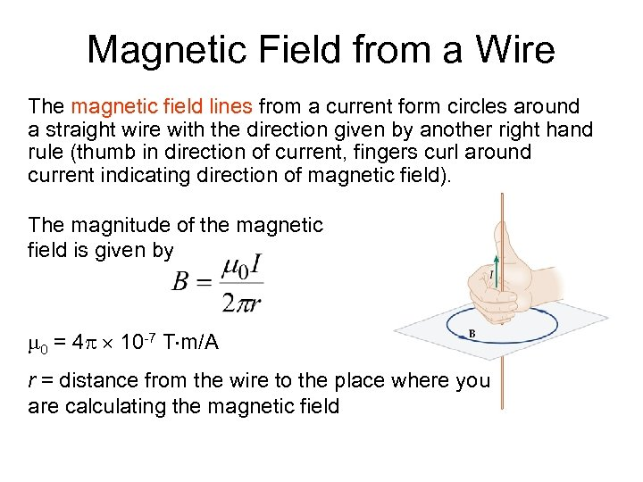 Magnetic Field from a Wire The magnetic field lines from a current form circles